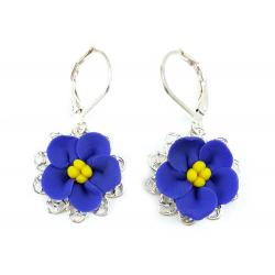 African Violet Filigree Dangle Earrings