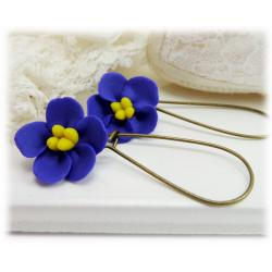 African Violet Drop Earrings