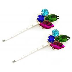 Berry Violet Blue Multicolor Rhinestone Bobby Pins