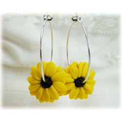 Black Eyed Susan Hoop Earrings