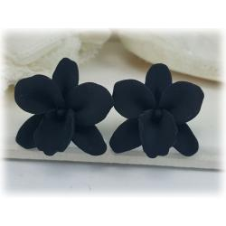 Black Orchid Stud Earrings