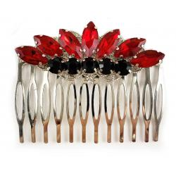 Black Red Rhinestone Hair Comb