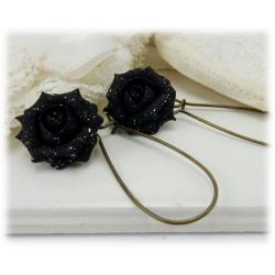 Black Rose Glitter Drop Earrings