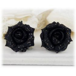 Black Rose Glitter Earrings