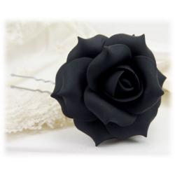 Black Rose Hair Pins