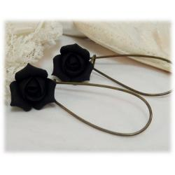 Black Rosebud Drop Earrings