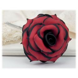 Black Tipped Red Rose Hair Flowers | Black and Red Flowers
