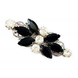Black Rhinestone Alligator Hair Clip