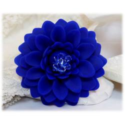 Large Blue Chrysanthemum Brooch Pin