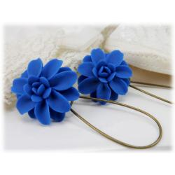 Blue Dahlia Drop Earrings