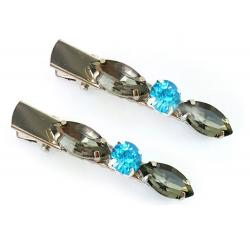 Gray Rhinestone Hair Clips