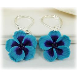 Blue Hibiscus Earrings
