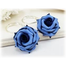 Navy Tipped Blue Rose Drop Earrings