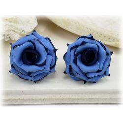 Navy Tipped Blue Rose Stud Earrings