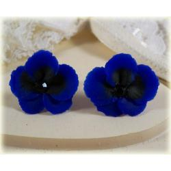 Blue Pansy Stud Earrings