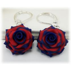 Blue Tipped Red Rose Earrings