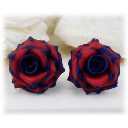 Blue Red Rose Stud Earrings