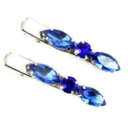 Blue Rhinestone Hair Clips