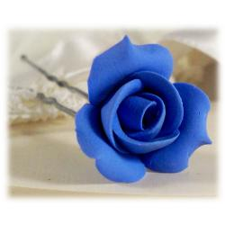 Blue Rosebud Hair Pins