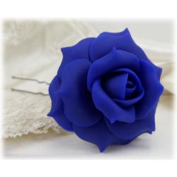 Blue Rose Hair Pins