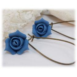 Blue Rosebud Drop Earrings
