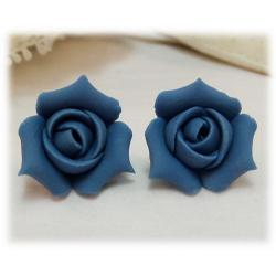 Blue Rosebud Stud Earrings