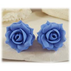Blue Sapphire Lt Rose Stud Earrings