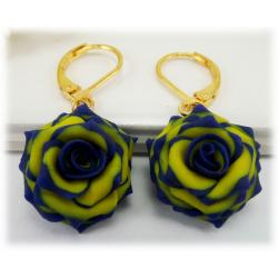 Blue Yellow Rose Earrings