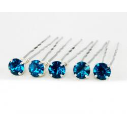 Blue Zircon Rhinestone Hair Pins