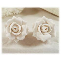 White Bright Rose Stud Earrings