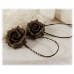 Metallic Bronze Rose Drop Earrings