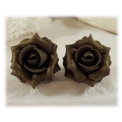 Metallic Bronze Rose Stud Earrings