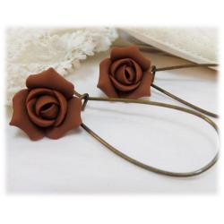 Brown Rosebud Drop Earrings