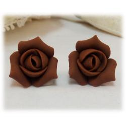 Brown Rosebud Stud Earrings