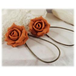 Orange Burnt Rose Drop Earrings