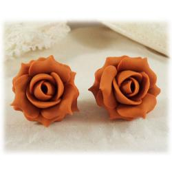 Orange Burnt Rose Stud Earrings