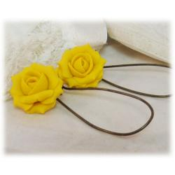 Yellow flower jewelry yellow hair flowers yellow canary rose drop earrings mightylinksfo
