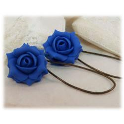Blue Capri Rose Drop Earrings