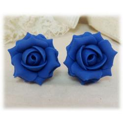 Blue Capri Rose Stud Earrings