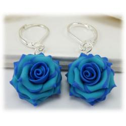 Blue Tipped Rose Drop Earrings