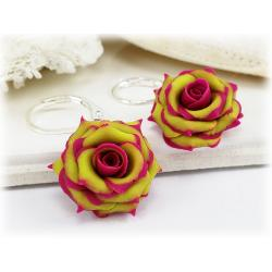 Fuchsia Tipped Chartreuse Rose Drop Earrings