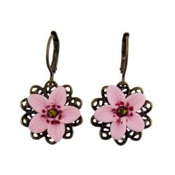 Cherry Blossom Filigree Dangle Earrings