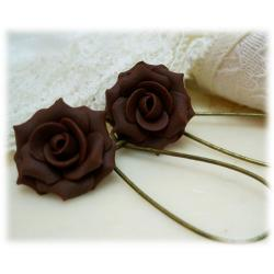 Brown Chocolate Rose Drop Earrings
