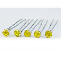 Citrine Yellow Rhinestone Hair Pins