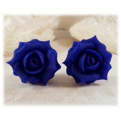 Blue Cobalt Rose Stud Earrings