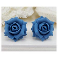 Blue Cornflower Rose Stud Earrings