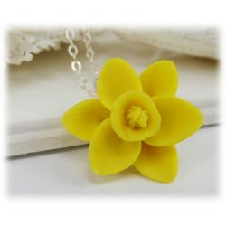 Daffodil Flower Pendant Necklace