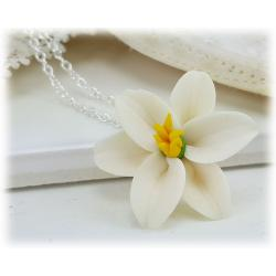 Easter Lily Flower Pendant Necklace