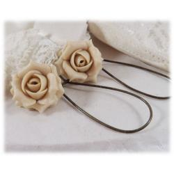 Ecru Pearl Light Rose Drop Earrings