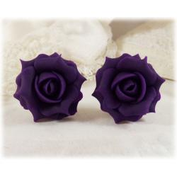 Purple Eggplant Rose Stud Earrings